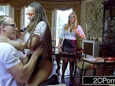 classroom  old man  students   porn video