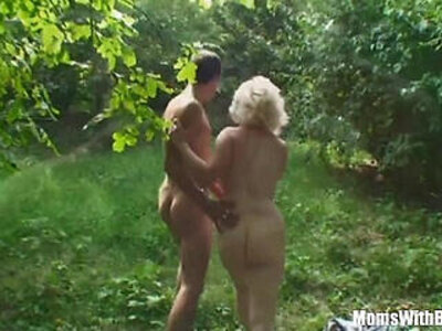 blonde  face fuck  mommy  outdoor   porn video